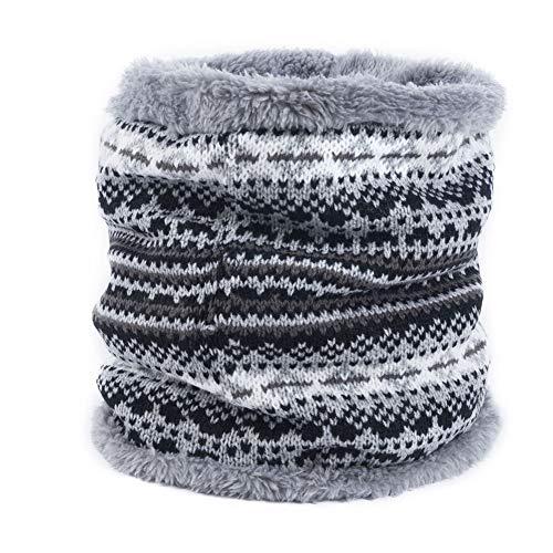 FAMLYJK Winter Infinity Schal Neck Warmer Männer Frauen Soft Fleece Lined Thick Knit Circle Scarf Windproof (2 Stücke),F (Knit Circle Scarf)