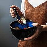 SLW Retro Müslischale Schwarz Große Keramik Suppe Rührschüssel Blau Pasta Schüssel Tablewrae 700Ml, Durchmesser: 14,3Cm