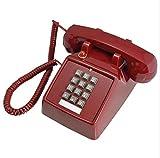 DIANHUAX Telefone für die schwer zu hören, Button Corded Telefon Metal Machine Bell Ring Retro, Ivory