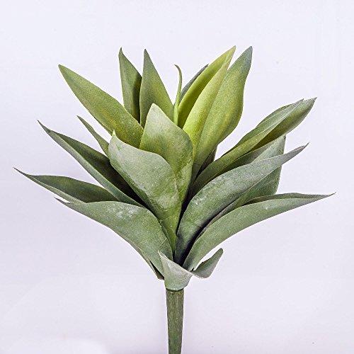 artplants – Kunst Agave Desiree mit 20 Blättern, grün, auf Steckstab, 27 cm – Künstliche Sukkulente/Deko Jahrhundertpflanze