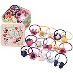 Juego de 22 piezas de lazos elásticos para el pelo para bebés y niñas, varios coletas elásticas con cuerdas para el pelo, goma, accesorios para el pelo, gomas elásticas con una bonita caja de lata