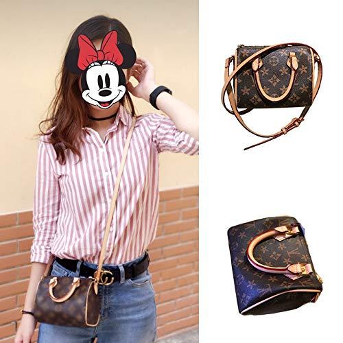 Mrs. Li's shop Europäische und amerikanische Mode Alten Blumendruck Schulter geschlungen Leder Leder Kissen Tasche Mini Boston kleine Dame Tasche, 16cm