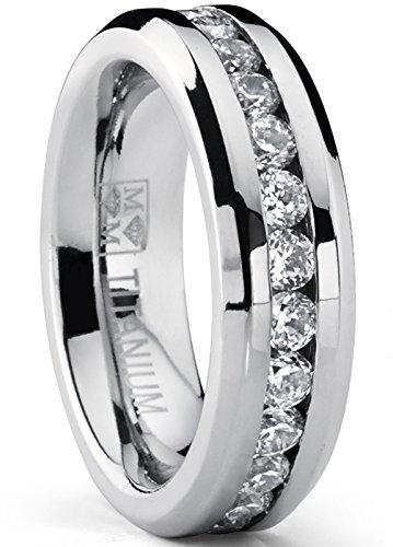 Ultimate Metals Co. 6MM Damen Titan Ewigkeit Ehering Mit Zirkonia Größe 47