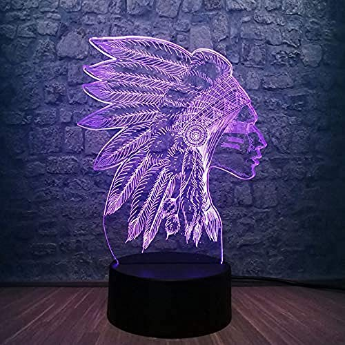 Neuheit Indischer Kopf 3D Led Nachtlicht RGB 7 Farbe Fernbedienung Usb Multicolor Schreibtisch Tischlampe Schlafzimmer Dekor Weihnachtsgeschenk USB wiederaufladbar Lesen Die Nacht essen ist Fütterun
