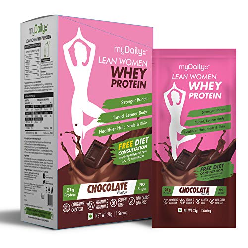 myDaily Protein for Women - Lean whey protein powder with Calcium & Iron, Chocolate flavor, 7 servings, 0g added sugar