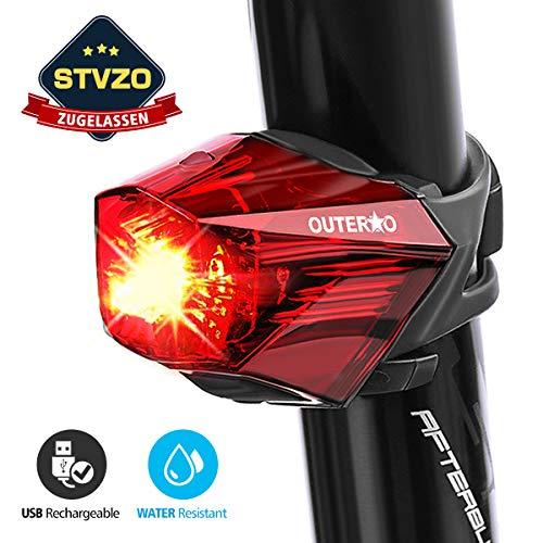 OUTERDO Fahrrad Rücklicht,StVZO Zugelassen Fahrradrücklicht Hohe Qualität Ultra Hell Fahrrad Licht, Fahrradlampe Aufladbar,Fahrradbeleuchtung LED USB Wiederaufladbare...