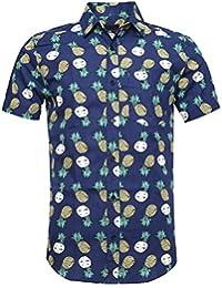 SOOPO Camisa para Hombre con Estampado de Piña Aloha Hawaiian Shirts, Camiseta Hermosa y Cómoda para Verano
