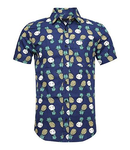 SOOPO Herren Kurzarm Freizeithemd Button Down Aloha Hawaii Style Hemd mit Ananas Floral Druck Blau S