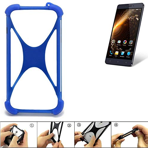 K-S-Trade Bumper Allview P9 Energy Lite Silikon Schutz Hülle Handyhülle Silikoncase Softcase Cover Case Stoßschutz, blau (1x)
