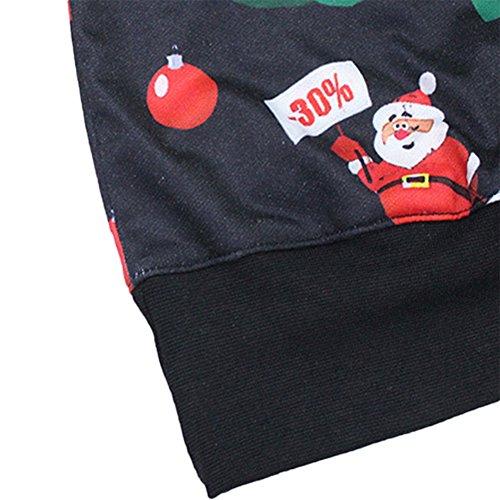 YesFashion Femme sweater de noel manches longues col rond imprimé père de noel cloches B Noir