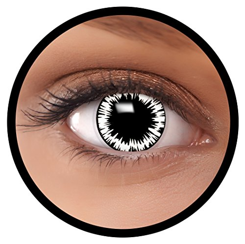 Farbige Kontaktlinsen weiß Wormhole + Behälter, weich, ohne Stärke in als 2er Pack (1 Paar)- angenehm zu tragen und perfekt für Halloween, Karneval, Fasching oder Fastnacht Kostüm