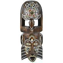 Máscara africano (madera, 30cm), diseño de tortuga colorée.
