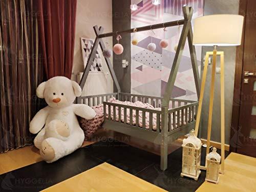 Hyggelia Tipi Holzbett Hausbett mit Barrieren, Bett für Kinder, Jugendliche, Landhausbett, Betthaus, bemalt, natürliches Holz, 60 x 120cm