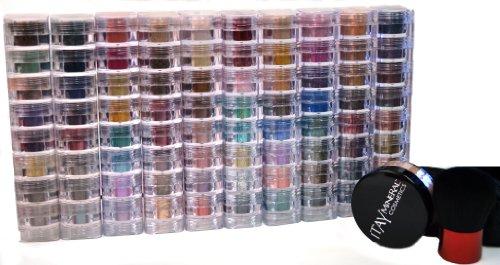 Bundle de 12 articles : ITAY Mineral Cosmetics 10 x 8 pile Shimmers + 9 gram Fond de teint Mf8 (foncé) + haute qualité Kabuki Brosse