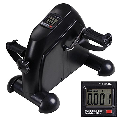 ReaseJoy Arm and Leg Pedal Exerciser with LCD Display Mini Exercise Bike Fitness Cycling Resistance Adjustable Black -