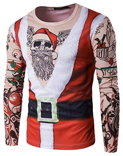 Whatlees Unisex Langarm Weihnachtsshirt Christmas T-Shirt mit 3D Weihnachtsmann Druckmuster Weihnachtsgeschenk (College Tee Long Sleeve)
