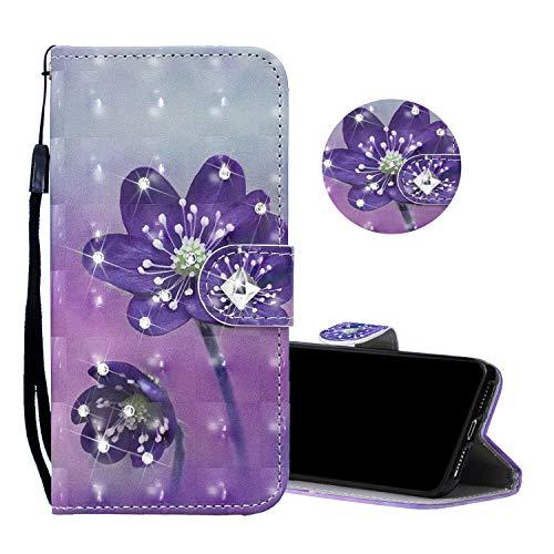 Obesky Glitzer Hülle für Samsung Galaxy J5 2016 / J510, Luxus Bling Diamant PU Leder Flip Wallet Case Standfunktion Kartensfach Magnetverschluss mit 3D Muster Lila Blumen Design Schutzhülle -