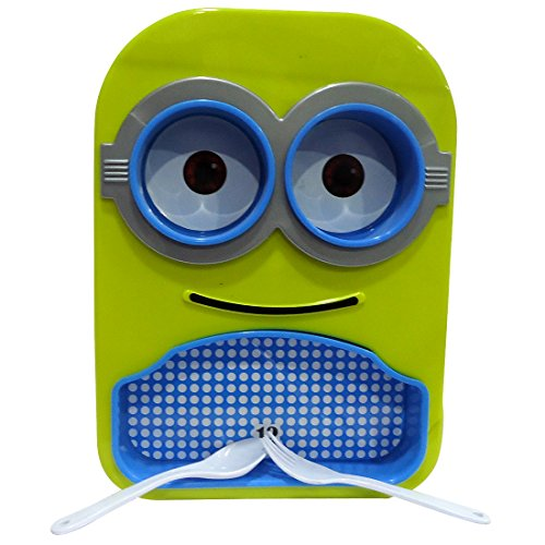 minion printed stylish colourful design multipurpose food serving Dish/plate with removable bowls,spoon &fork for kids for gift( colour may be vary)  available at amazon for Rs.155