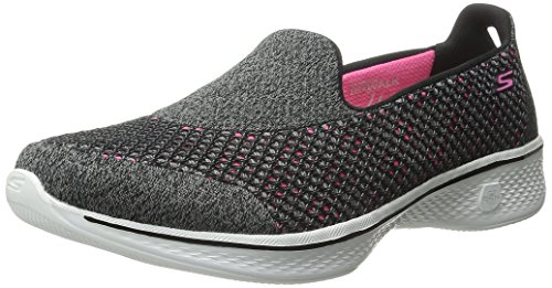 Skechers Go Walk 4 - Kindle, Women Low-Top Sneakers, Multicolored (Black/Hot Pink Bkhp), 5 (38 EU)
