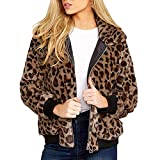 GNYD Giacca Oversize da Donna Moda Invernali Calde con Cerniera in Pelliccia Sintetica con Stampa Leopardo Sexy Taglie Forti Outwear