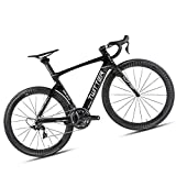 Bicicletta da Strada, Materiale in Fibra di Carbonio/Livello Gara, Adatto per Persone di Altezza, Bicicletta per Famiglie con Ciclo Sportivo, Nero/Rosso,Black,45CM