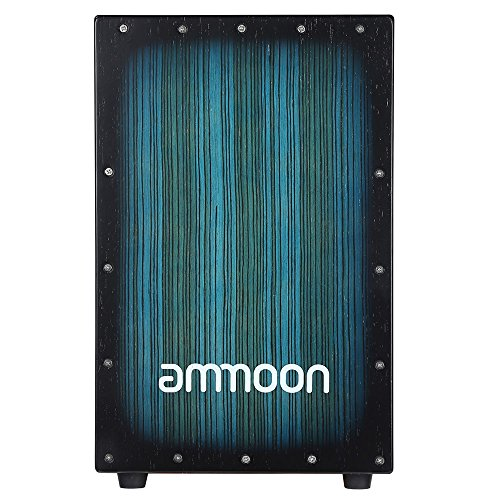 Ammoon Cajon Wooden Box Drum, Hand Drum, Percussion, Wood with Stings, Rubber Feet, 30 x 31 x 48 cm