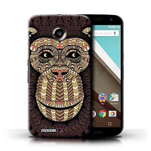 Kobalt® Imprimé Etui / Coque pour Motorola Nexus 6 / Loup-Couleur conception / Série Motif Animaux Aztec Singe-Sépia
