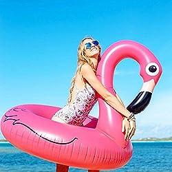 Asamoom Flotador Gigante de 115cm / 45inch Flamenco para Piscina, Juguete Veraniego Inflable, Juguete para Fiestas de Piscina con Válvulas Rápidas