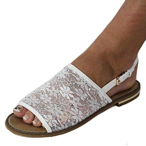 Damen Sandalen Sandaletten mit Netz Glitzer Spitze JA10 Pantoletten Weiß