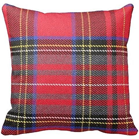 Rojo diseño de tela escocesa funda de almohada manta para sofá o para cama lienzo decorativo Accent funda para cojín 18 x 45,72