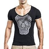 Herren T-shirt,Sonnena Männer Mode Persönlichkeit Herren Casual Slim Kurzarm Shirt Top Bluse All Seasons/Sport Hosen, Yoga/Polyester/bedruckt/1 * Bluse (M, Gut Schwarz)