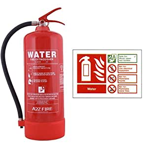 9 Litre Water Fire Extinguisher with ID Sign - A2Z Fire Safety