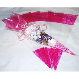 Zellophan-Partytüten, Süßigkeitentüten, durchsichtig mit Muster Pink, 10 Stück, 36 x 17 cm