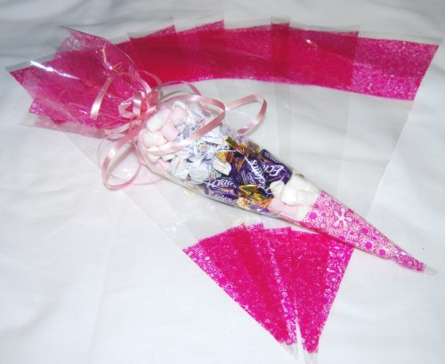 Pack of 100 - Pink Pattern Clear Party Bags - Cone Cellophane Display Bags - 45 micron - 14.5