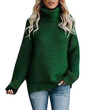 ZORE Mujer de Manga Larga Suelta de Cuello Alto suéter de Punto Jersey Blusa Women Sweater