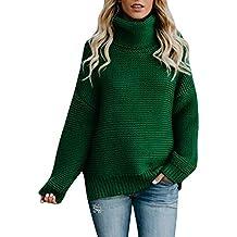 Mujer de Manga Larga Suelta de Cuello Alto suéter de Punto Jersey Blusa Women Sweater