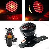 KATUR 1PCS Motofans Black Round Metal Motorcycle Tail Brake Light for Harley Bobber Chopper Custom April IA Mana