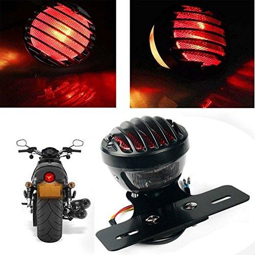 katur 1motofans schwarz rund Metall Motorrad Schwanz Bremslicht für Harley Chopper Bobber Custom April IA Mana