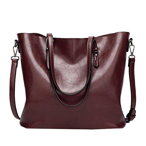 Yy.f Borse Nuova Elegante Pelle Retrò Olio Di Grande Capienza Borsa Tracolla Tub Bag Borse Multicolore Rosso Adorabile