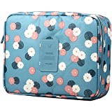 KanCai Multi-function Makeup Cosmetic Bag Toiletry Travel Kit Organizer Cosmetic Bags With Zipper (Blue)