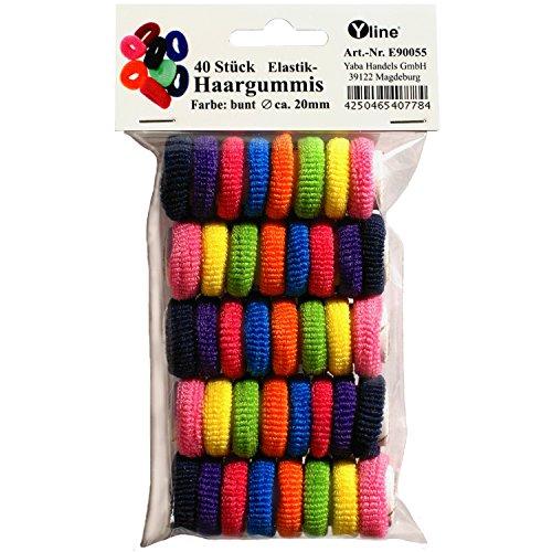 40 Mini Elastik Frottee Haargummis f. Kinder bunt, D.ca.2,0 cm/B.ca.0,6 cm, Kinder Haar - Gummi...