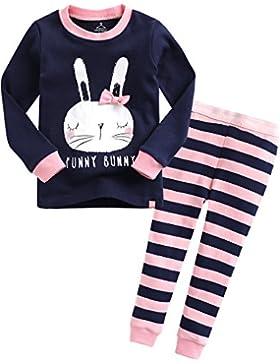 Vaenait Baby 74-122 Kinder Maedchen Bekleidung Langarm zweiteilige Schlafanzuge Pyjama Funny Bunny