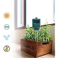 RCYAGO 3 in 1 Medidor de Humedad de Suelo Digital Luz y PH Acidez Tester Planta Tester Ideal para Jardin Granja Césped Interior Exterior
