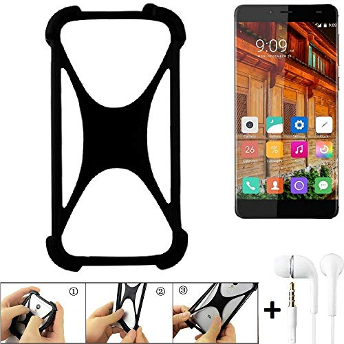 K-S-Trade Handyhülle für Elephone S3 Lite Schutzhülle Bumper Silikon Schutz Hülle Cover Case Silikoncase Silikonbumper TPU Softcase Smartphone, schwarz (1x), Headphones