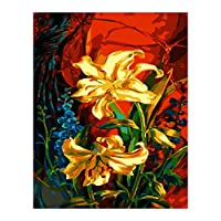 WYTTT Painting By Numbers Number Diy Dropshipping Yellow Red Gold Flower Canvas Wedding Decoration Art Picture Gift 16X20In Frameless