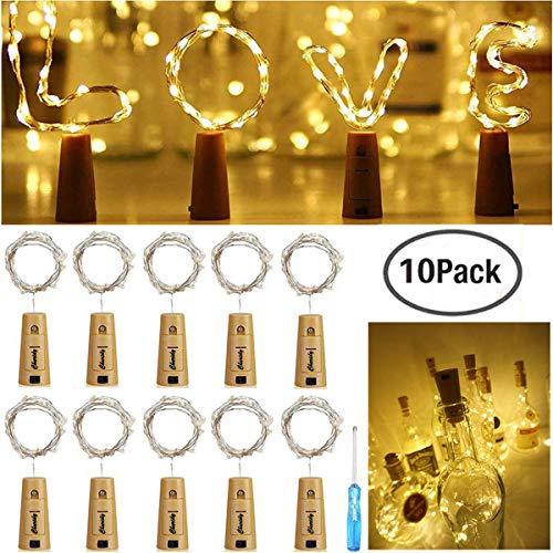 20 LEDs 2M Flaschen Licht Warmweiß, Lichterketten Nacht Licht Weinflasche Stimmungslichter LED Lichter Lichterkette Kupferdraht,batteriebetriebene,für Flasche DIY Hochzeit Party Valentinstag Dekor (Hochzeit Diy Essen)