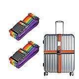 Cinghie per valigie, Fmway 2 pezzi da viaggio cinghie bagagli imballaggio cintura valigia cinghie regolabile sicurezza 5 x 200cm (Arcobaleno)