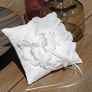 EinsSein 1x Ringkissen Hochzeit klein 15×15 Blume Creme Traukissen Ringe Eheringe Flower Basket Herzen Schmuck Schleife Tüll Füllung Deko Vintage