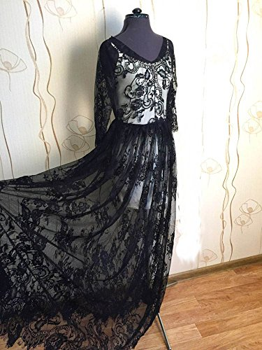 Chantilly Lace Floral Braut/Hochzeit Kleid Blume Stoff scallop Trim Applikation Kleidung Vorhänge Schwarz/aus weiß 300150cm ALE01, Schwarz, 300cmx150cm (Weiße Und Schwarze Blumen-vorhänge)