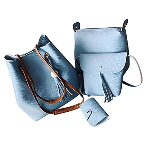 MORCHAN Quatre Ensembles Fashion Sac éPaule Les Sacs  Dames Sac Messenger Paquet Vague Sac Sacs à Main Des Femmes Fashion Tassel décontracté (Bleu ciel)